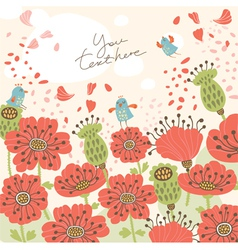 poppy floral background vector image vector image
