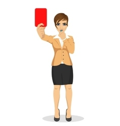 young businesswoman referee showing red card vector image