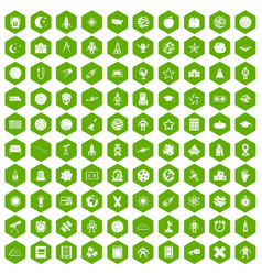 100 astronomy icons hexagon green vector