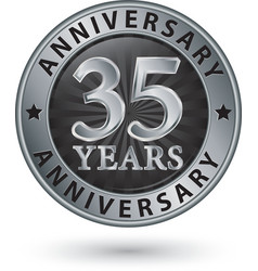 35 years anniversary silver label vector