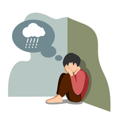 A boy in depression with gloomy thoughts in vector