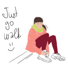 a young woman sitting lacing walking shoes vector image