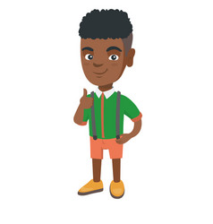 African-american little boy giving thumb up vector