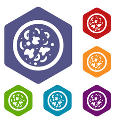Asian hot dish icons set hexagon vector
