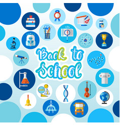 back to school logo text on background with vector image