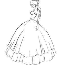 Beautiful bride in wedding dress vector