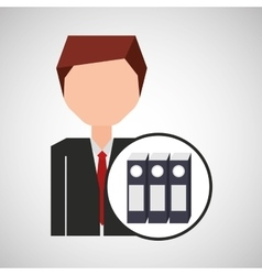 businessman character folder file concept vector image