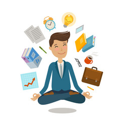 businessman sitting in lotus pose business vector image