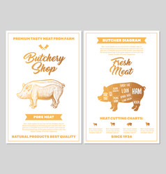 Butchery shop poster with pork meat cutting charts vector