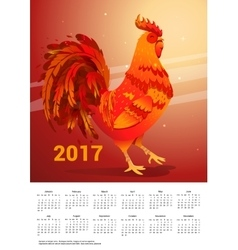 Calendar with a fiery rooster vector image