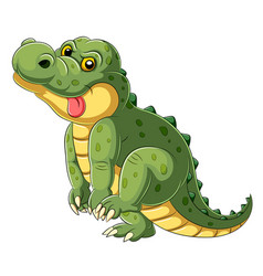 Cartoon a big alligator with tongue hanging out vector