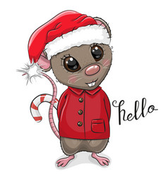 cartoon rat in santa hat on a white background vector image
