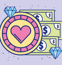 Casino chip and banknote money diamond image vector