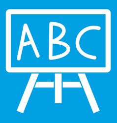 chalkboard with the leters abc icon white vector image