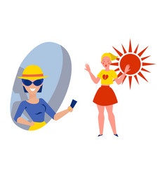 Character female give sun cream skin protection vector