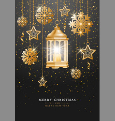 christmas and new year design with golden vector image