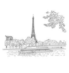City sketching on white background paris vector