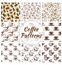 Coffee cup seamless pattern background set vector image