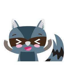 Colorful adorable and glad raccoon wild animal vector