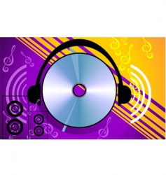 compact disk with headphone vector image