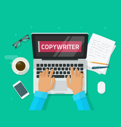 Copywriter working on laptop writing article vector