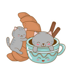 Cute little cats with croissant kawaii characters vector