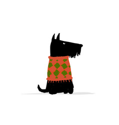 Cute schnauzer dog sketch for your design vector