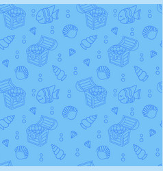 Cute seamless pattern with a treasure chest vector
