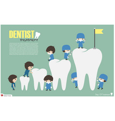 dentists climb to top of teeth vector image