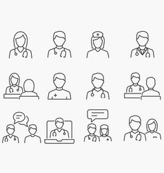 doctor and nurse line icons set black vector image