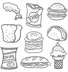 Doodle of food collection stock vector