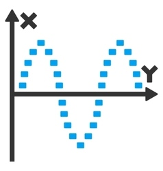 Dotted Sinusoid Plot Icon vector image