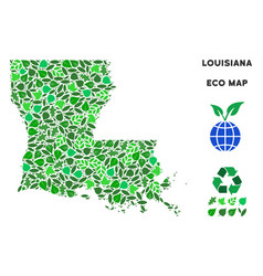 ecology green mosaic louisiana state map vector image