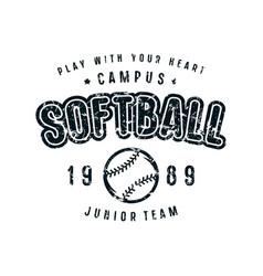 Emblem of softball team vector