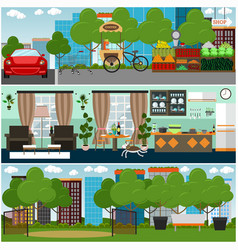 family interior flat poster set vector image