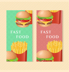 fast food banners with burger and french fries vector image