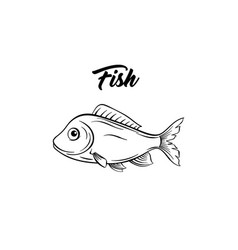 fish black and white vector image