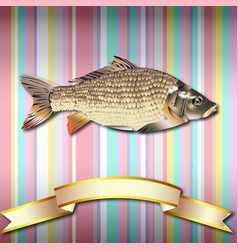 Fish realistic background and gold ribbon vector