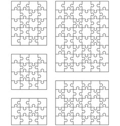 five different white puzzles vector image