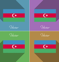 Flags Azerbaijan Set of colors flat design and vector image