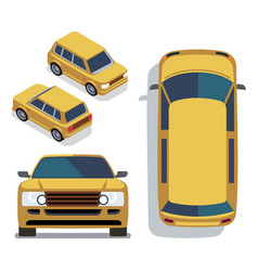 Flat-style cars in different views yellow vector