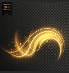 Golden swirl transparent white light effect vector