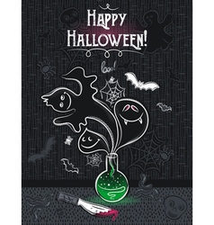 Halloween greeting card with ghost bottle skull vector