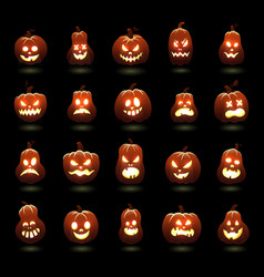 halloween pumpkins cartoon scary carving pumpkin vector image