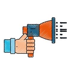 Hand holding bullhorn vector