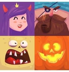 Happy halloween Set of Halloween characters vector