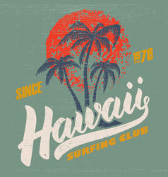 hawaii surfing club poster template with vector image