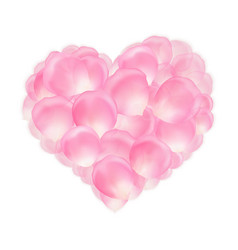 Heart pink rose petals vector