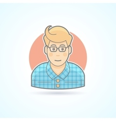 Hipster designer artist icon Avatar and person vector image