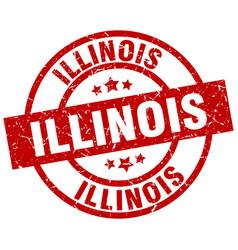 Illinois red round grunge stamp vector